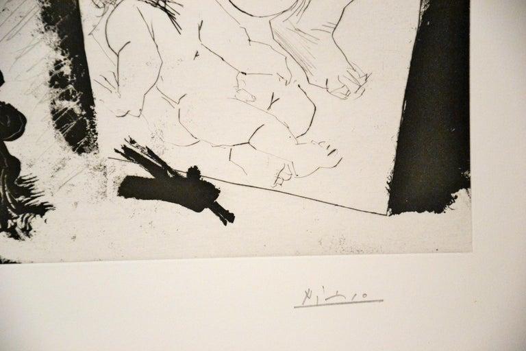 Patron et sa Suite en Visite à l'Atelier - Original Etching by P. Picasso - 1968 - Cubist Print by Pablo Picasso
