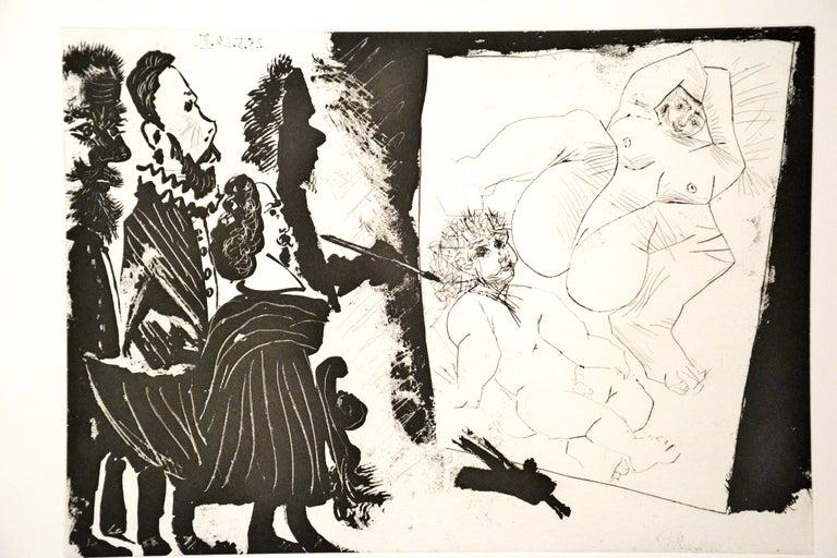 Patron et sa Suite en Visite à l'Atelier - Original Etching by P. Picasso - 1968 - Beige Print by Pablo Picasso