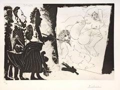 Patron et sa Suite en Visite à l'Atelier - Original Etching by P. Picasso - 1968