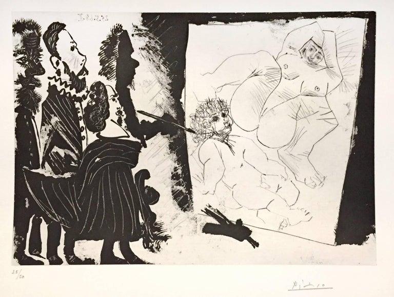 Pablo Picasso Print - Patron et sa Suite en Visite à l'Atelier - Original Etching by P. Picasso - 1968