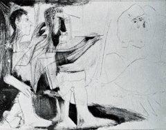 Peintre au travail [Peintre barbu avec modele nu et un spectateur] 1 novembre