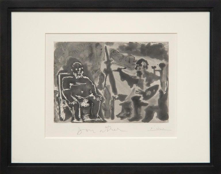 Peintre avec Modele Barbu Assis sur une Chaise - Print by Pablo Picasso