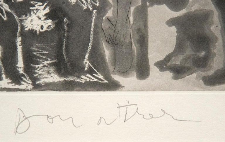 Peintre avec Modele Barbu Assis sur une Chaise - Gray Figurative Print by Pablo Picasso