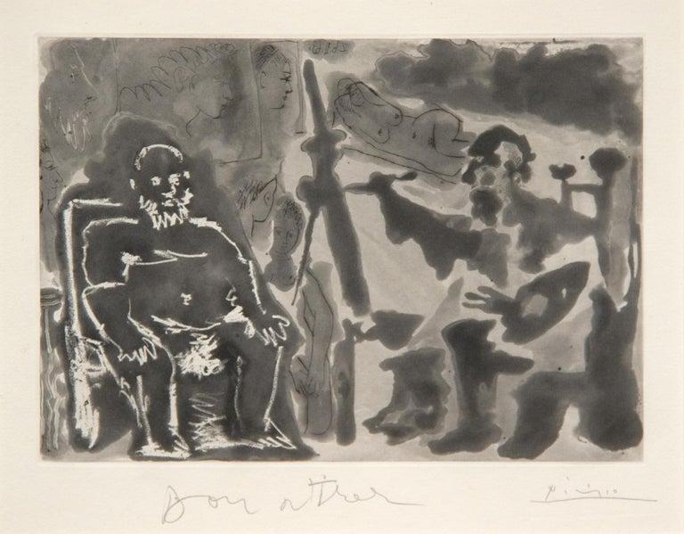 Pablo Picasso Figurative Print - Peintre avec Modele Barbu Assis sur une Chaise