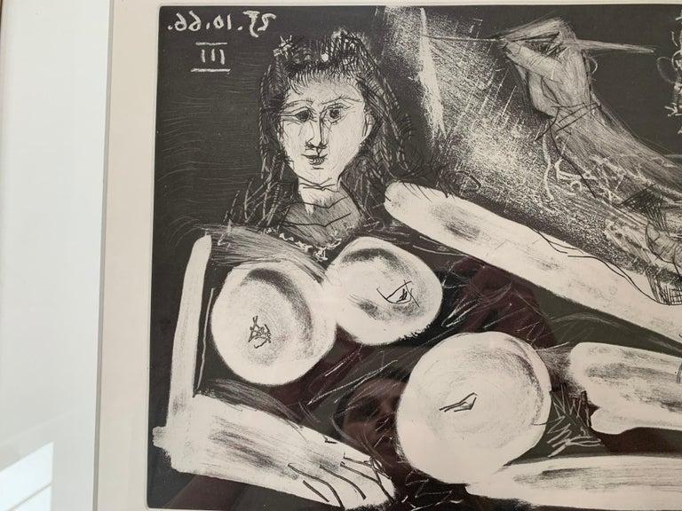 Peintre et Modèle au Collier - Gray Figurative Print by Pablo Picasso