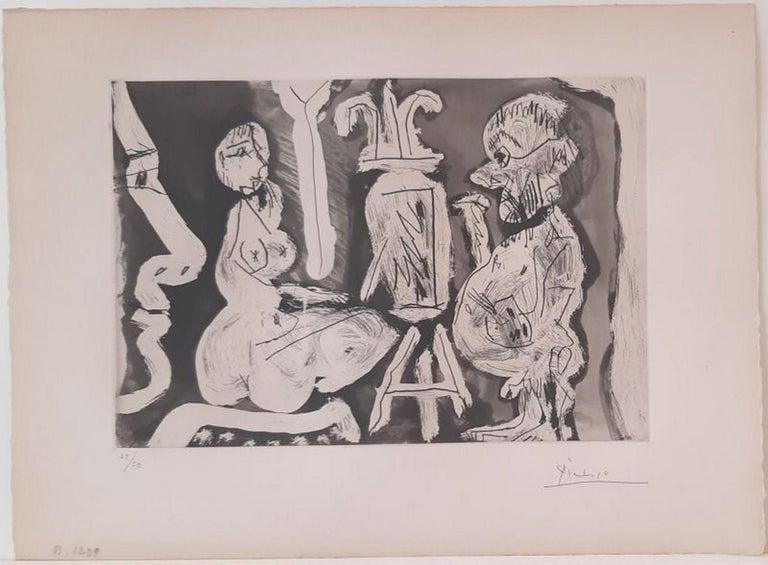 Pablo Picasso Abstract Print - Peintre et modèle avec spectateur