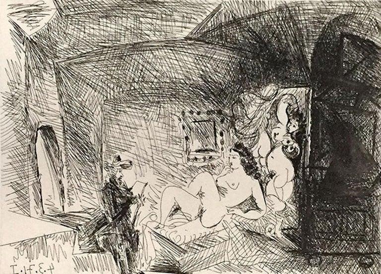 Peintre, Modele et Toile dans une Piece Voutee du XVIIe Siecle - Print by Pablo Picasso