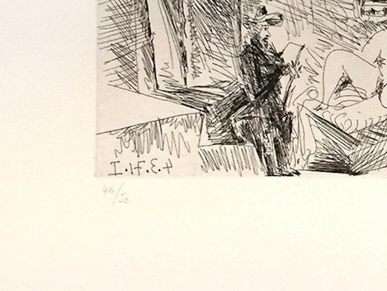 Peintre, Modele et Toile dans une Piece Voutee du XVIIe Siecle - Cubist Print by Pablo Picasso