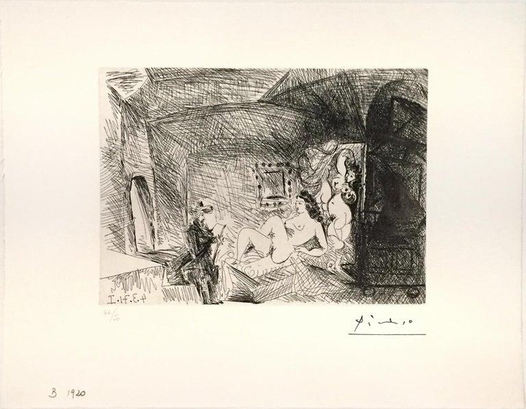 Pablo Picasso Figurative Print - Peintre, Modele et Toile dans une Piece Voutee du XVIIe Siecle
