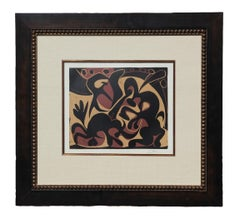 """Picador Goading Bull With Matador"" Linogravure Print"