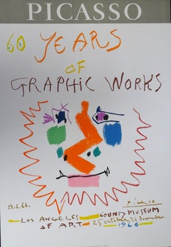 Picasso 60 Years of Graphic Works, Los Angeles 1966 - 1970s - Original poster