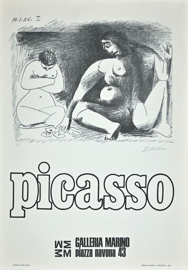 Pablo Picasso Figurative Print - Picasso Exhibition Poster - Original Offset by Picasso (after) - 1974