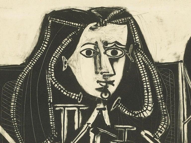Picasso Femme Au Fauteuil No 4 (d'aprés le violet) (Bloch 588) - Black Figurative Print by Pablo Picasso