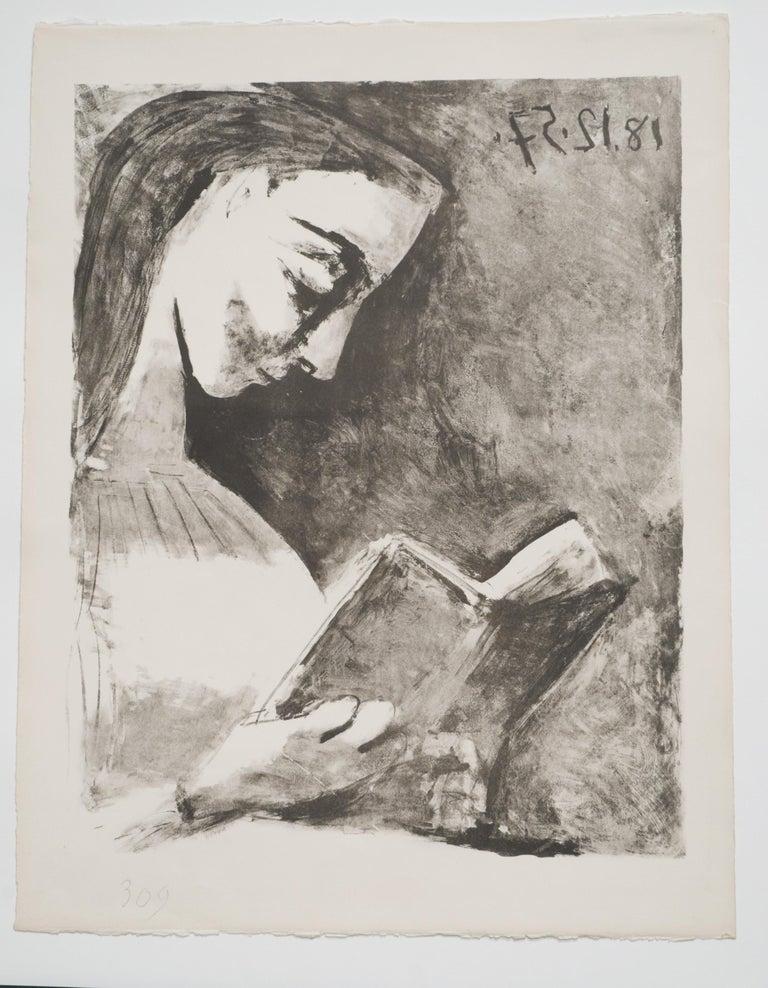 Pablo Picasso Portrait Print - Picasso: Jacqueline lisant B851
