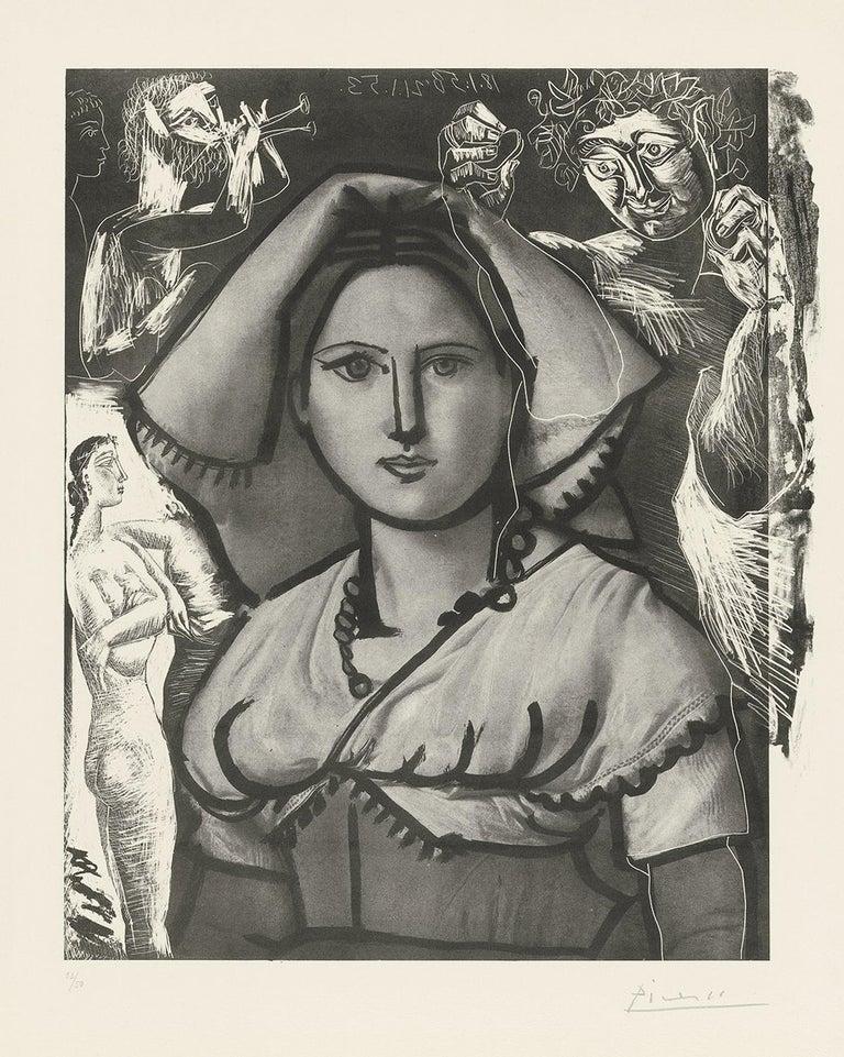 Pablo Picasso Portrait Print - Picasso L'Italienne (d'après le tableau de Victor Orsel) (Bloch 740.2)