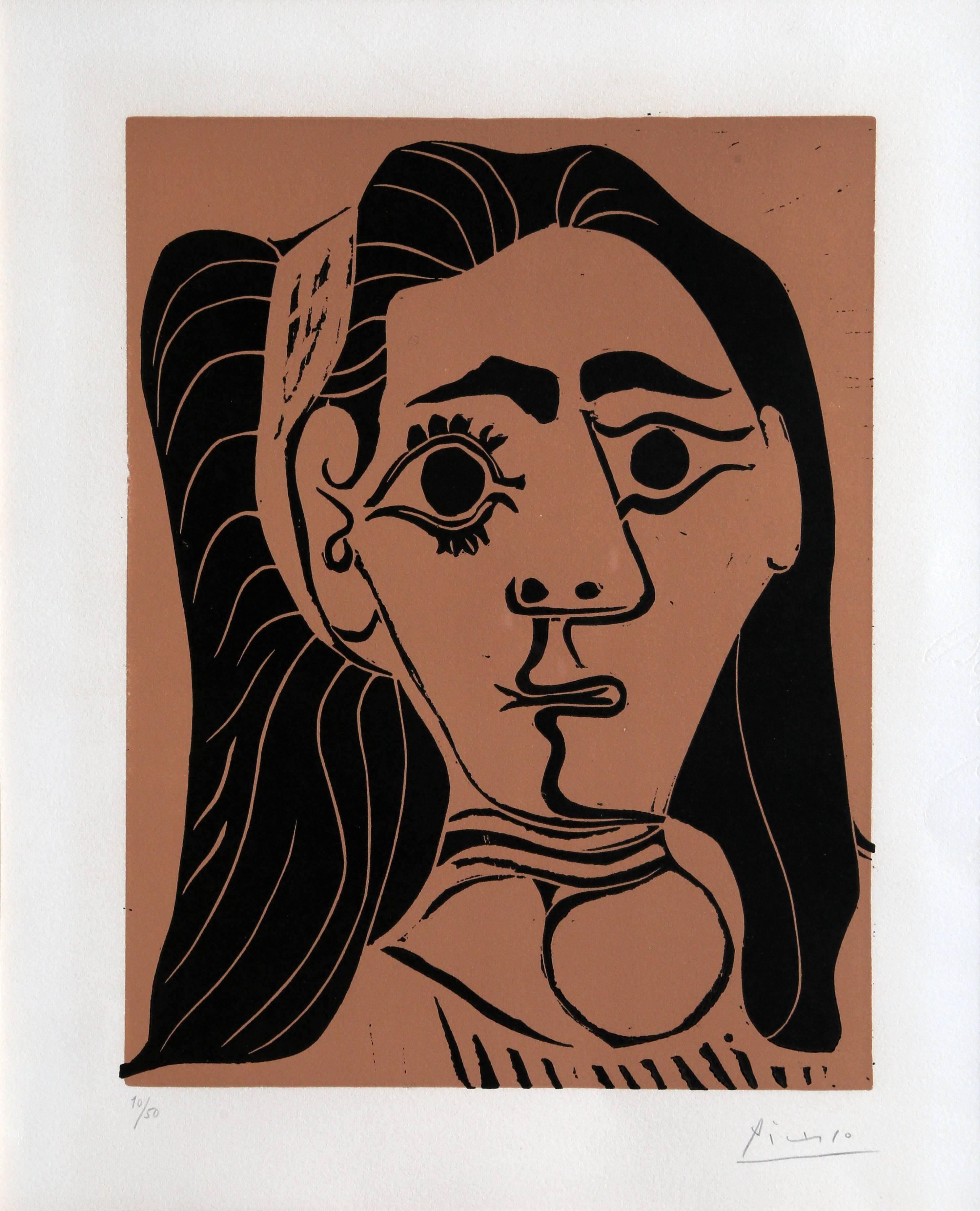Jacqueline au Bandeau, Signed Linocut 1962 by Pablo Picasso