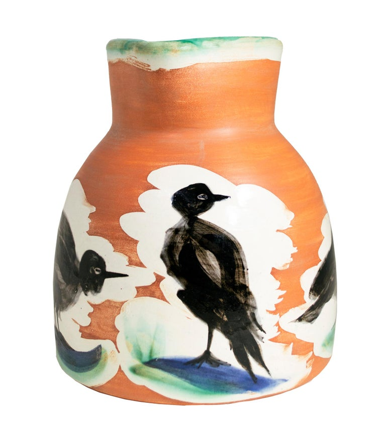 'Pitcher with Birds' original Madoura ceramic turned pitcher, Edition Picasso - Sculpture by Pablo Picasso