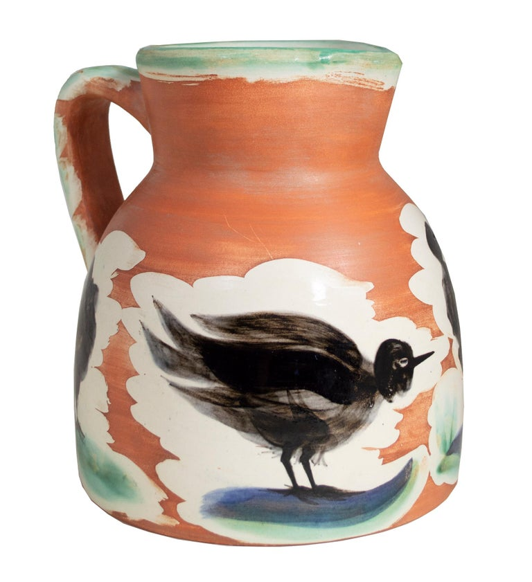 'Pitcher with Birds' original Madoura ceramic turned pitcher, Edition Picasso - Cubist Sculpture by Pablo Picasso