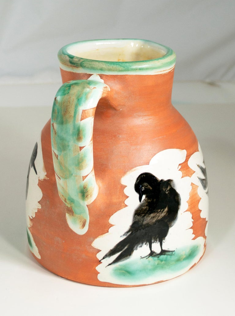 'Pitcher with Birds' original Madoura ceramic turned pitcher, Edition Picasso - Beige Figurative Sculpture by Pablo Picasso