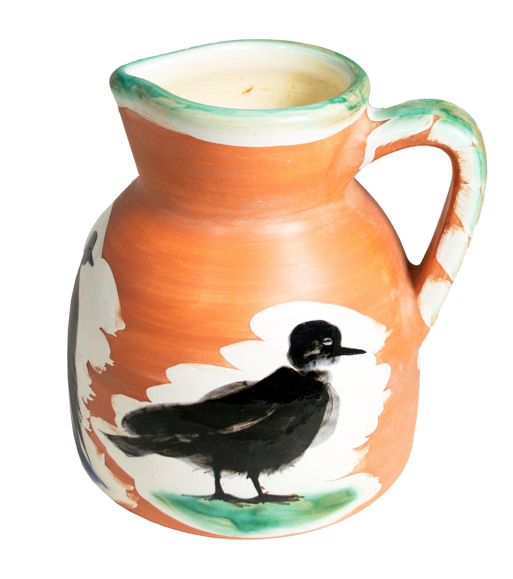 'Pitcher with Birds' original Madoura ceramic turned pitcher, Edition Picasso