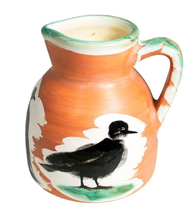 Pablo Picasso Figurative Sculpture - 'Pitcher with Birds' original Madoura ceramic turned pitcher, Edition Picasso