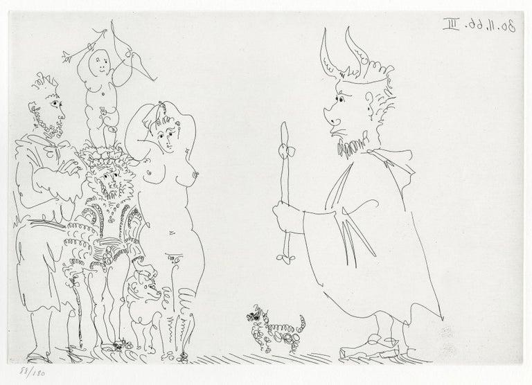 Pablo Picasso Nude Print - Plate III, Le Cocu Magnifique