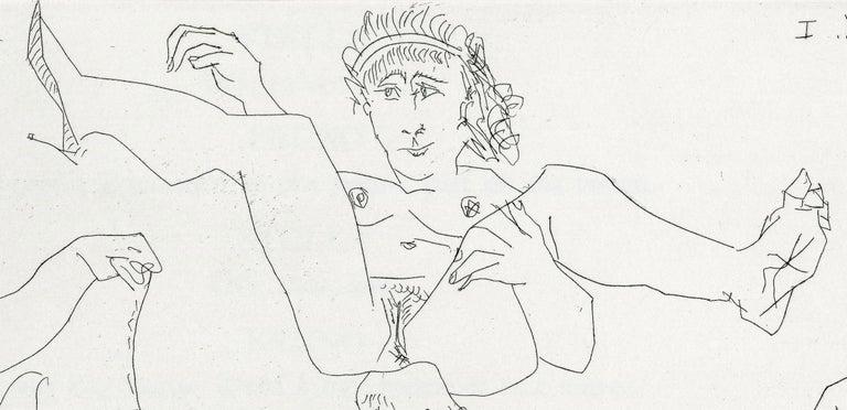 Plate V, Le Cocu Magnifique - Gray Nude Print by Pablo Picasso