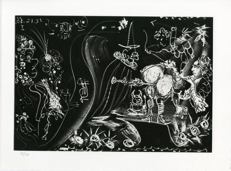 Pablo Picasso Abstract Print - Plate VI, Le Cocu Magnifique