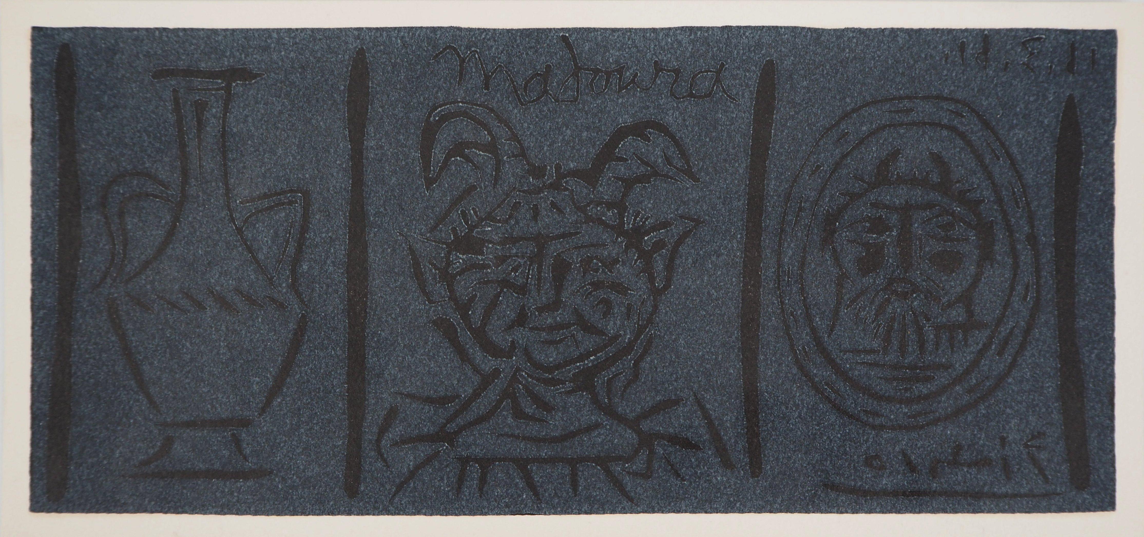 Pottery and Fauns (Madoura) - Original linocut, 1961