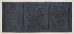 Pottery and Fauns (Madoura) - Original linocut, 1961