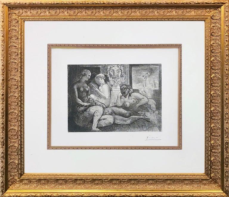Pablo Picasso Nude Print - QUATRE FEMMES NUES ET TETE SCULPTEE (BLOCH 219)