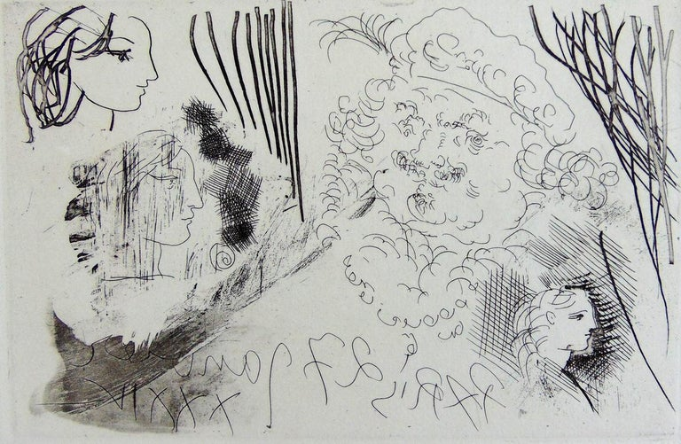 Pablo Picasso Figurative Print - Rembrandt and Women's Heads, from: Suite Vollard  Modern Portraits