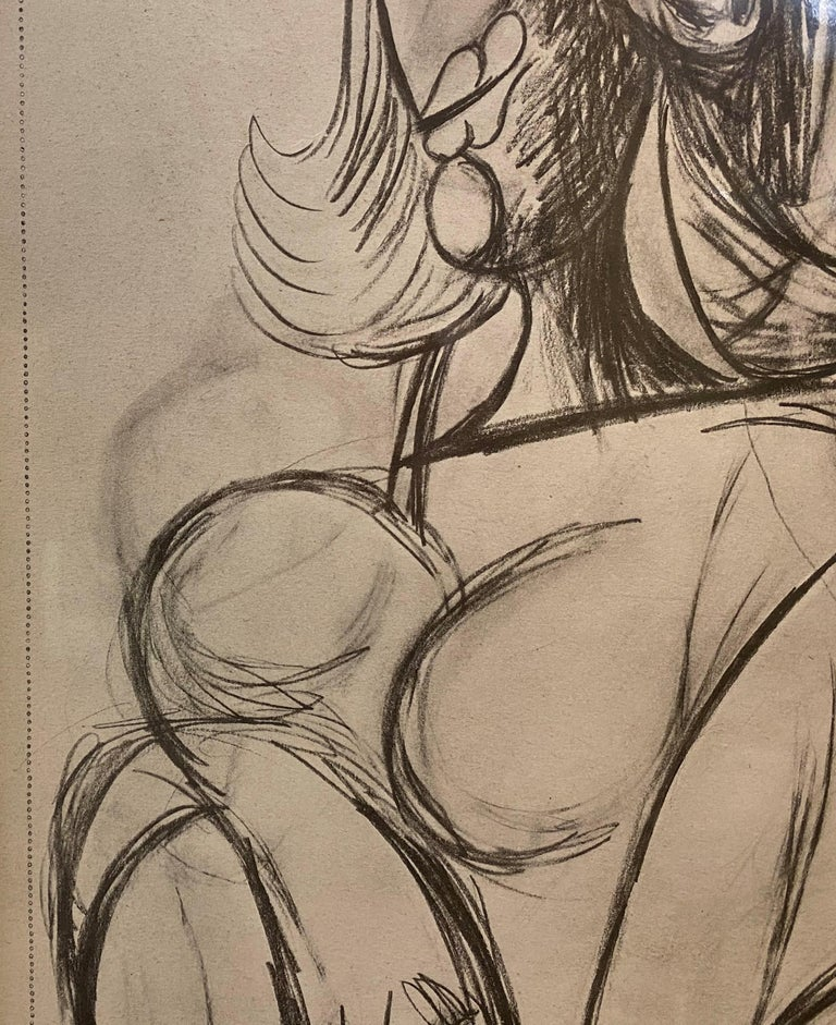 Royan Lithograph 8.6.40 - Brown Nude Print by Pablo Picasso