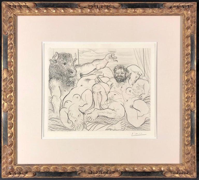 Pablo Picasso Figurative Print - Scène Bacchique au Minotaure, Plate 85 from La Suite Vollard (B. 192; Ba. 351)