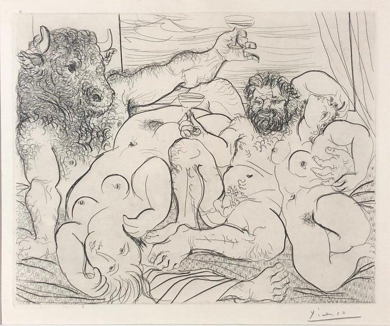 Scène Bacchique au Minotaure, Plate 85 from La Suite Vollard (B. 192; Ba. 351) - Print by Pablo Picasso