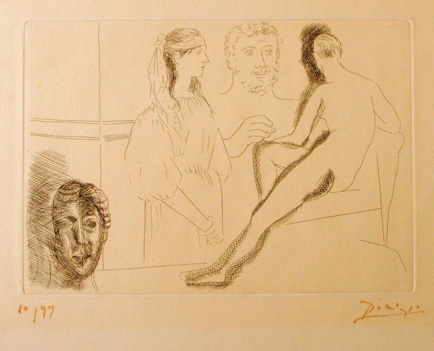 Sculpteur Devant sa Sculpture- Original Etching by P. Picasso - 1927