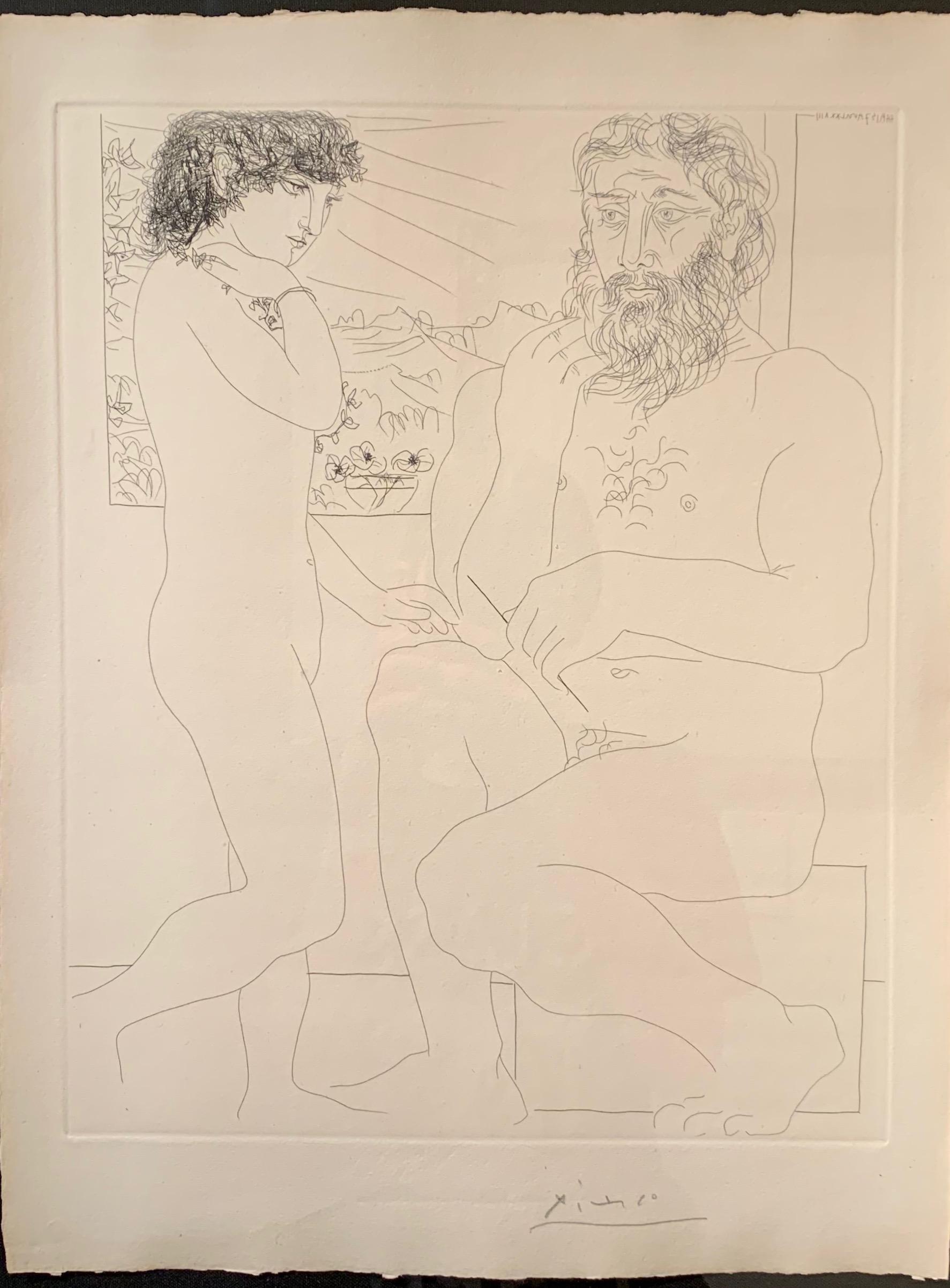 Pablo Picasso, Sculpteur et Modele debout, etching