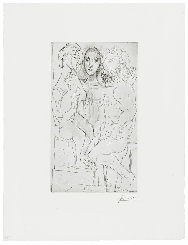 Pablo Picasso Portrait Print - SCULPTEUR, MODELE, ET SCULPTURE ASSISE (BLOCH 146)