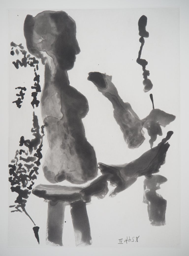 Sculptor before His Sculpture Stand - Original Aquatint Etching (Bloch #1191) - Gray Figurative Print by Pablo Picasso