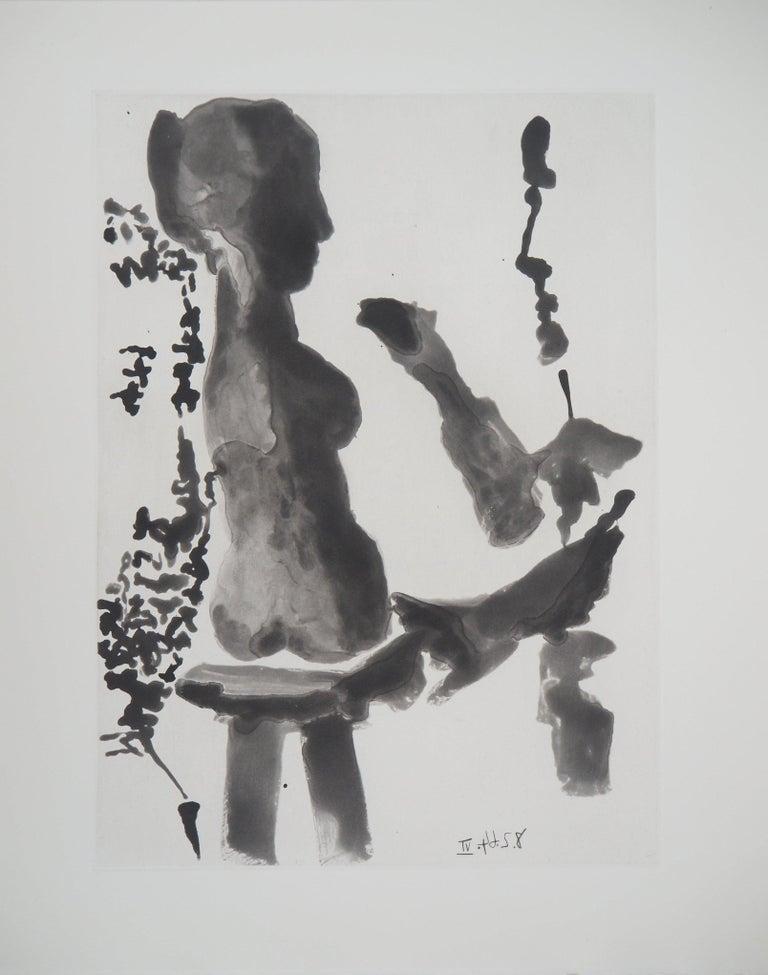 Pablo Picasso Figurative Print - Sculptor before His Sculpture Stand - Original Aquatint Etching (Bloch #1191)