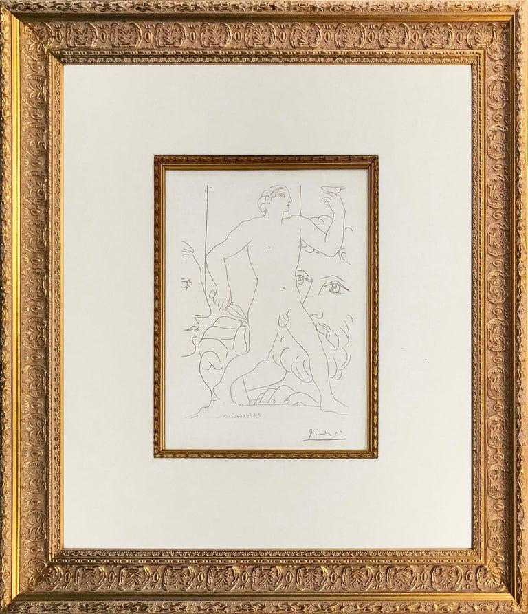 Pablo Picasso Portrait Print - SCULPTURE D'UN JEUNE HOMME A LA COUPE (BLOCH 179)