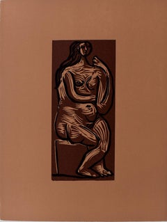 Seated Nude  Nu Assis - Spanish Art Linocut in Colours