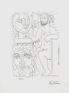Seated Sculptor and Two Sculptured Heads (The Vollard Suite)