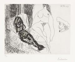 Series 347: Plate 322 Jeune femme au lit, Célestine et gentilhomme