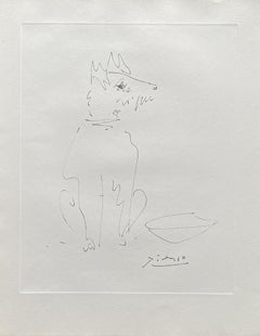 Sitting Dog - Etching Signed in the Plate