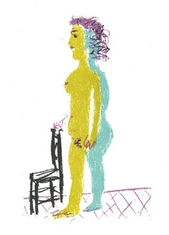 Standing oman - Original Lithograph after Pablo Picasso - 1982