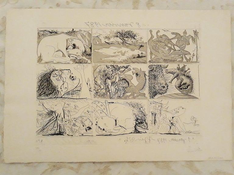 Sueño y Mentira de Franco - Original Etchings and Aquatints by P. Picasso - 1937 - Cubist Print by Pablo Picasso