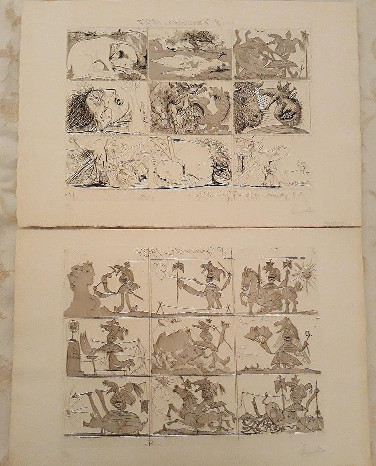 Pablo Picasso Print - Sueño y Mentira de Franco - Original Etchings and Aquatints by P. Picasso - 1937