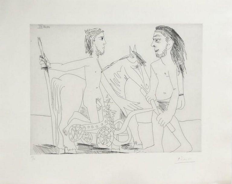 """Pablo Picasso Abstract Print - Suite """"Les 347"""", Télévision : combat de chars à l'antique"""