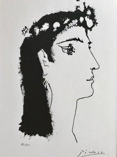 Tete de femme couronnée de fleurs (Suite Gongora Planche II)